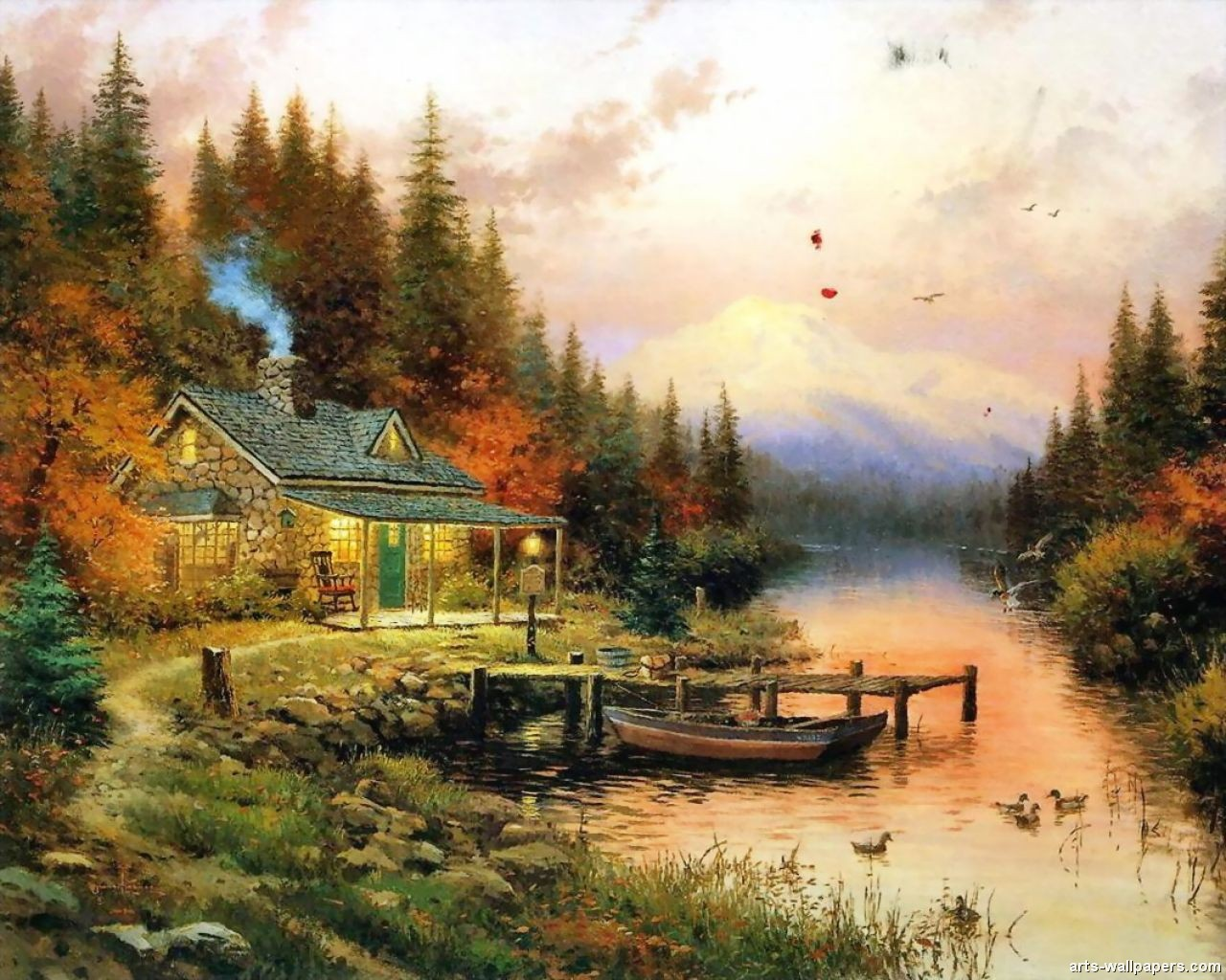 Wall Paper by Thomas Kinkade